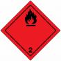 Etiket klasse 2, van toepassing op stoffen die bij 50°C een dampdruk hebben die hoger is dan 3 bar of bij 20°C volledig gasvormig zijn. Vervaardigd uit zelfklevend vinyl op vel, 250 x 250 mm
