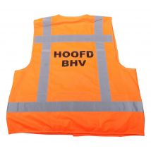 Veiligheidsvest Hoofd BHV fluo oranje met opdruk BHV - achterkant