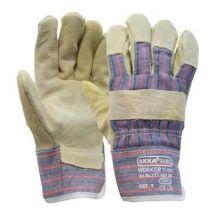 Werkhandschoen Oxxa Worker rundsplitleder Amerikaantje met gestreept doek maat 10