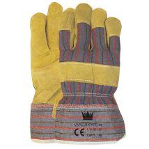 Werkhandschoen M-safe rundsplitleder Amerikaantje met gestreept doek maat 10