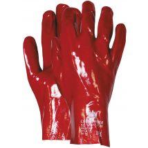 Werkhandschoen M-Safe PVC rood 270 mm - 450 mm enkel gedipt maat 10