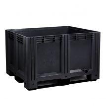Kunststof palletbox Zwart E-line 1200 x 1000 x 760 mm 3 sleden - 610 liter