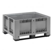 Kunststof Palletbox Grijs 1200 x 1000 x 600 mm 2 sleden - 430 liter