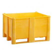 Kunststof Palletbox Geel 1200 x 1000 x 760 mm 3 sleden - 630 liter