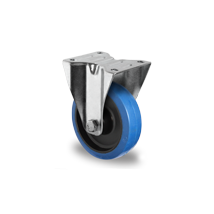 Bokwiel blauw elastisch rubber rollager Ø 125 mm
