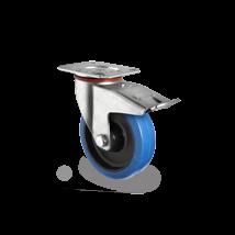 Zwenkwiel met rem blauw elastisch rubber rollager Ø 125 mm