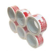 Breekbaar tape PP acryl rood-wit 48mm x 66 meter - 28 my
