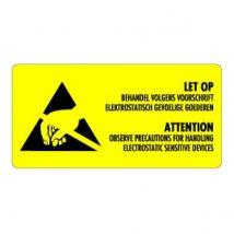 Etiket ESD geel/zwart 350x70 mm - 1000 etiket/rol