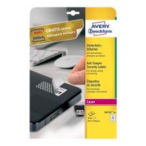 Avery Veiligheidsetiket 27/vel 63,5 x 29,6 mm Wit - 20 vel