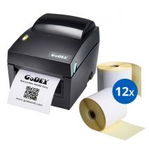 Starterspakket Godex DT4x + 12 rol Verzendlabels 100 x 150 mm