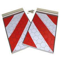 Laadklepvlaggen rood/wit set vol reflectie 250x400 mm