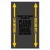 Deurmat Grijs PLEASE RESPECT SOCIAL DISTANCING 1,5 meter inloopmat 90 x 150 cm