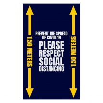 Deurmat Blauw PLEASE RESPECT SOCIAL DISTANCING 1,5 meter inloopmat 90 x 150 cm