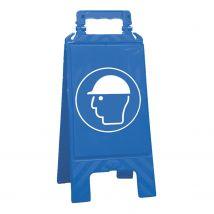Waarschuwingsbord blauw veiligheidshelm verplicht