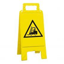 Waarschuwingsbord geel let op! Transportvoertuigen