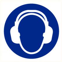 Gehoorbescherming verplicht vinyl sticker Ø 200 mm
