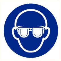 Oogbescherming verplicht vinyl sticker Ø 200 mm