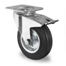 Zwenkwiel met rem zwart massief rubber rollager Ø 100 mm