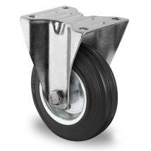 Bokwiel zwart massief rubber rollager Ø 125 mm