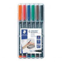 Staedtler OHP-marker Lumocolor Permanent box met 6 geassorteerde kleuren, fijn 0,6 mm