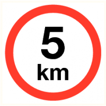 Maximale snelheid 5 km - vinyl sticker 300 mm