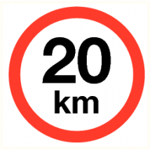 Maximale snelheid 20 km - vinyl sticker 90 mm