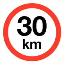 Maximale snelheid 30 km - vinyl sticker 300 mm