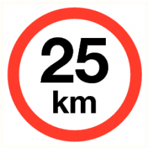 Maximale snelheid 25 km - vinyl sticker 200 mm
