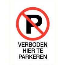 Verboden hier te parkeren - vinyl sticker 210 x 300 mm