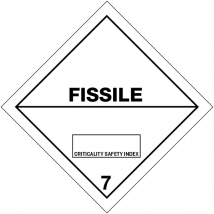 Gevaarsetiket klasse 7.4 100 x 100 mm zelfklevend papier op rol - 1000 stuks MET TEKST