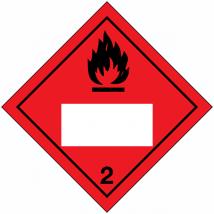 Etiket klasse 2, van toepassing op stoffen die bij 50°C een dampdruk hebben die hoger is dan 3 bar of bij 20°C volledig gasvormig zijn. Vervaardigd uit zelfklevend vinyl op vel met wit UN-vlak.
