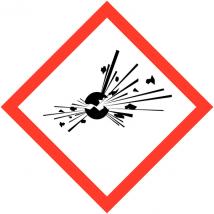 Gevaarsetiket GHS Explosive 100 x 100 mm zelfklevend papier op rol - 1000 stuks