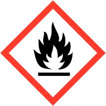 Gevaarsetiket GHS Flammable 100 x 100 mm zelfklevend papier op rol - 1000 stuks