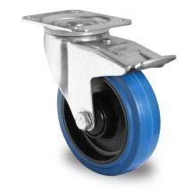 Zwenkwiel met rem blauw elastisch rubber kogellager Ø 100 mm