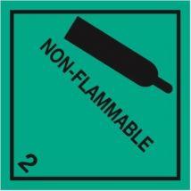 Gevaarsetiket klasse 2.2 100 x 100 mm zelfklevend papier op rol - 1000 stuks MET TEKST