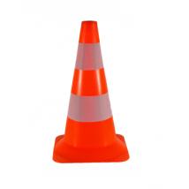 Verkeerskegel PVC 50 cm | Pion fluor oranje met 2 witte strepen