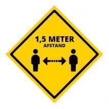 Houd Afstand Sticker PP 150 x 150 mm - Opdruk: '1,5 meter afstand'