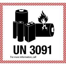 IATA UN 3091 etiket Lithium Batteries 120 x 110 mm - 1000 etiket rol