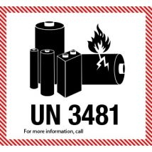IATA UN 3481 etiket Lithium Batteries - telefoonnummer naar keuze